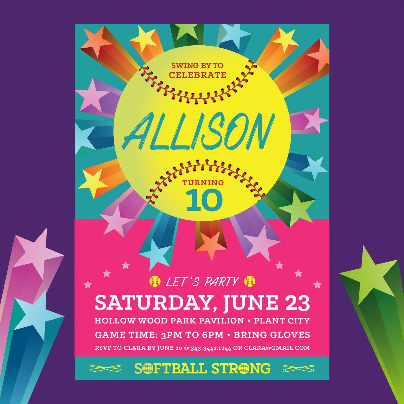 Softball Birthday Invite Colorful Stars Girl Power