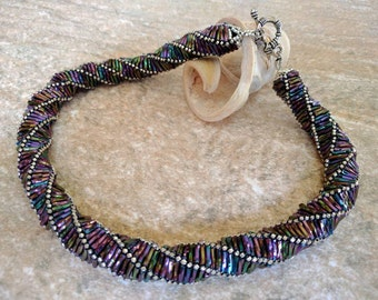 Helix Rainbow Necklace - Unique Handmade Jewelery; Statement Necklace, Russian Spiral Necklace; Handcrafted Jewelry; Gift for her