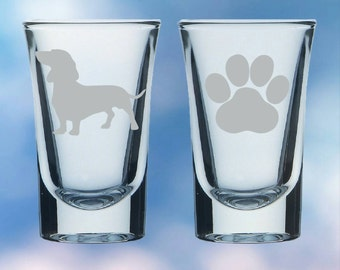 Set of 2 Dachshund and paw shot glasses - gift - permanently etched