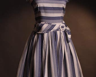 Original Vintage 1950's Blue and White Checked Cotton Day Dress. Size UK 6