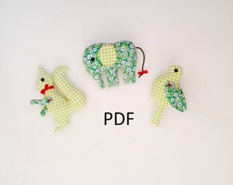 PDF soft animals set squirrel elephant bird stuffed animal pattern