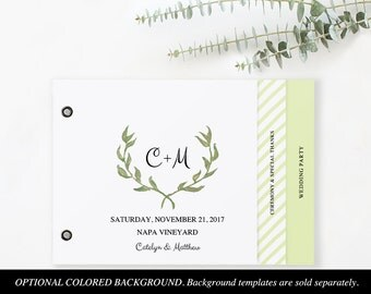 Booklet Wedding Program Template, Printable Wedding Program, Ceremony Printable Template, Instant Download, Watercolor Wreath #SPP011prb