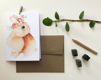 Red rabbit greeting card / greeting card / blank card / Easter greeting / rebirth / Katrinn illustration