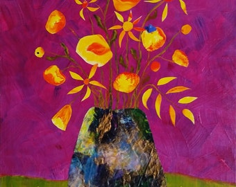 Pot with Flowers - original mixed media on canvas
