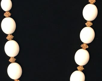 Trifari, white Lucite, and gold plated nugget necklace