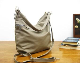 BEIGE LEATHER HOBO Bag,Crossbody Bag - Everyday Leather Shoulder Bag