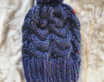 Chunky cabled beanie - Louise Hat -  Woman's Hat - Winter Hat - Pom Pom Hat
