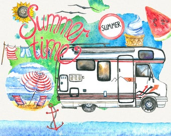 SALE! Summer clipart, sea clipart, travel clipart,watercolor clipart,beach clipart, summer time clipart, Hand Painted
