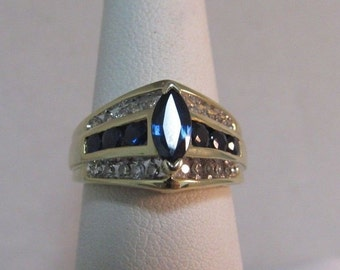 10K Solid Gold Diamond and Blue Topaz Ring - Size 6, #R80