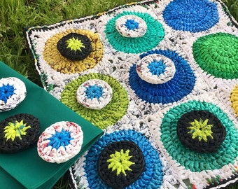 Handmade Board Game crocheted from plastic bags / Giant Tic Tac Toe game / Crocheted Board game / Recycled Board Game / Housewarming Gift