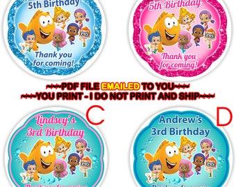 YOU PRINT- Bubble Guppies Birthday Thank you gift tags, Bubble Guppies Favor Tags, Bubble Guppies Goody bag labels, Thank you tags- BIRTHM14