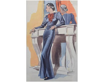 A glamorous 1930's evening dress, ready-made printable pattern