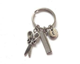 Hairdresser Keychain, Personalized Scissors Comb Keyring, Hair Stylist Keychain, Hairdresser Gift (K29)