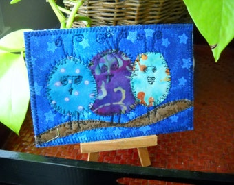 "This ""More Birds of a Feather"" Fabric postcard, greeting card, all occasion card"