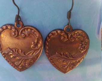 Collectors item: vintage brass heart earrings