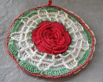 1950s vintage crochet potholder, kitchen pot holder Happy Valentine's Day