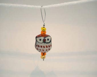Cute Brown Owl Glass Hand-beaded Stitch Markers for Knitters, single marker
