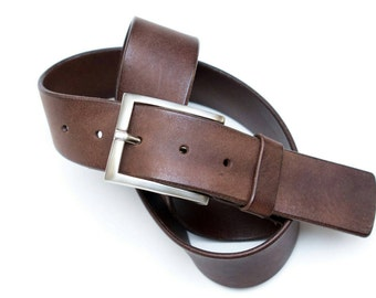 Leather belt - Brown Western - 4 cm - 90 cm