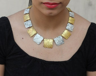 Silver Gold Square Pieces Indian Necklace, Bib Statement Necklace, Boho Tribal Necklace,Bridesmaid Necklace, Christmas Gift, Collar necklace