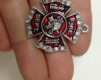 3 Pieces Fire Fighter rhinestone Charm, Fire fighter Crystal Charm
