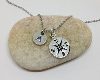 Compass Necklace, Friendship Necklace,Best Friend Necklace, Graduation Friends Necklace,bff necklace, Initial Necklace