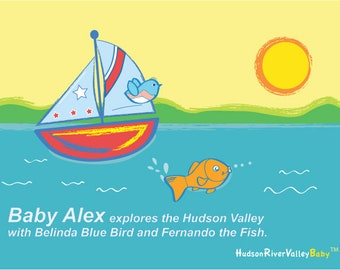 Personalized Baby Gift, Baby Boy Art Print---Sailboat, Fish, Hudson River