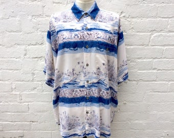 Summer shirt, vintage 80's print, short sleeves, menswear fashion