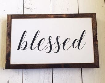 READY TO SHIP! Blessed handpainted framed wood sign