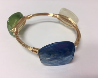 Wire Wrapped Beaded Bracelet--Blue, Green, and Cream