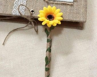 Sunflower Wedding Guest Book Pen,Burlap Guest Book Pen with Sunflower,Sunflower Pen for Guest Book,Burlap Pen for Rustic Guest Book.