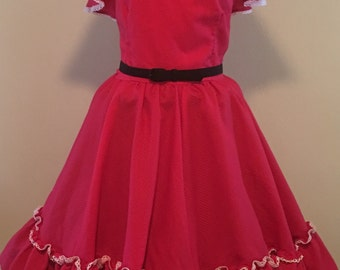 20% OFF --- Vintage 1970s Red Rockmount Ranch Wear Square Dance Dress