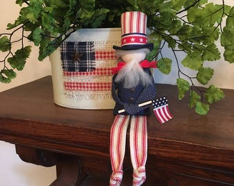 Patriotic primitive Uncle Sam shelf sitter, Patriotic decor, Americana decor, Primitive decor, Fourth of July