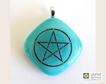 Pentagram symbol pendant, turquoise blue glass, Throat chakra, elements, symbolic jewelry, pentagram jewellery, wicca pentacle charm
