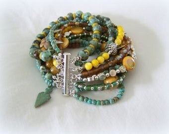 MULTI STRAND BRACELET - turquoise and yellow