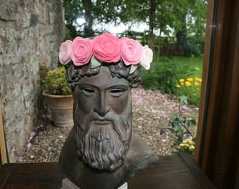 Pink and Green Rose Hairband/Flower Crown