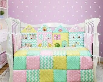 Crib bedding set for girl - Toddler girl bedding - Nursery bedding set - Pastel nursery decor - Baby girl nursery  decor (020)