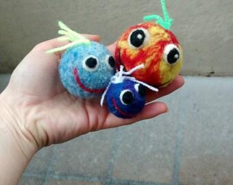 funny decoration, felt balls * smile balls *, funny, joke, fun, funny Zimmerdeko, emoticon, smiley, gift