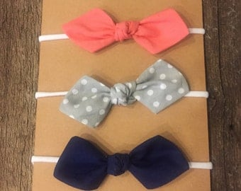 Set of 3 - Knotted baby bow headbands