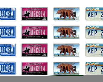 scale model car  Montana license tag plates