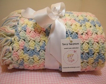 Knit/crochet pink/blue /yellow/cream multi baby blanket + FREE knit baby hat with purchase