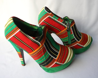 Ankara Ankle Boots, Size 8