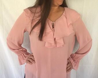 Chiffon blouse boho gypsy blouse ruffle blouse 1970 long sleeve blouse