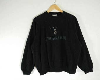 RARE!! Vintage Trussardi Sweatshirt Embroidery Big Logo Crewneck Made in Italy Size M #A4