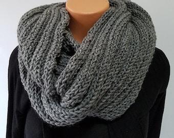 Grey Hand Knit Infinity Scarf