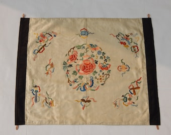 Antique Chinese Silk Hand Embroidered Textile Art Panel (139)