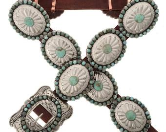 Navajo Silver Concho Belt Kingman Turquoise