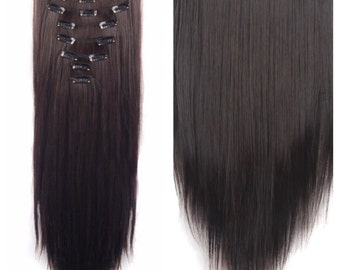 "Dark Brown Hair Extensions Brown Clip In Extensions 24"" Long Straight Hair Weave Bundle Extensions Hair Weave Double Weft Wigs TOP QUALITY"