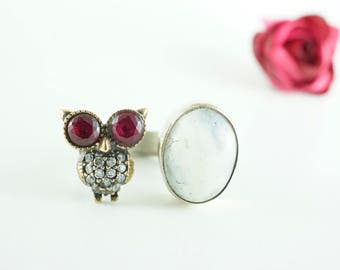 Ruby Moonstone Owl Ring/Sterling Silver/Adjustable Size/Handmade Unique