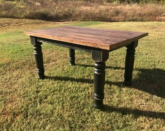 Farmhouse Table | Dining Table | Solid Wood Table | Harvest Chunky Turned Leg Table