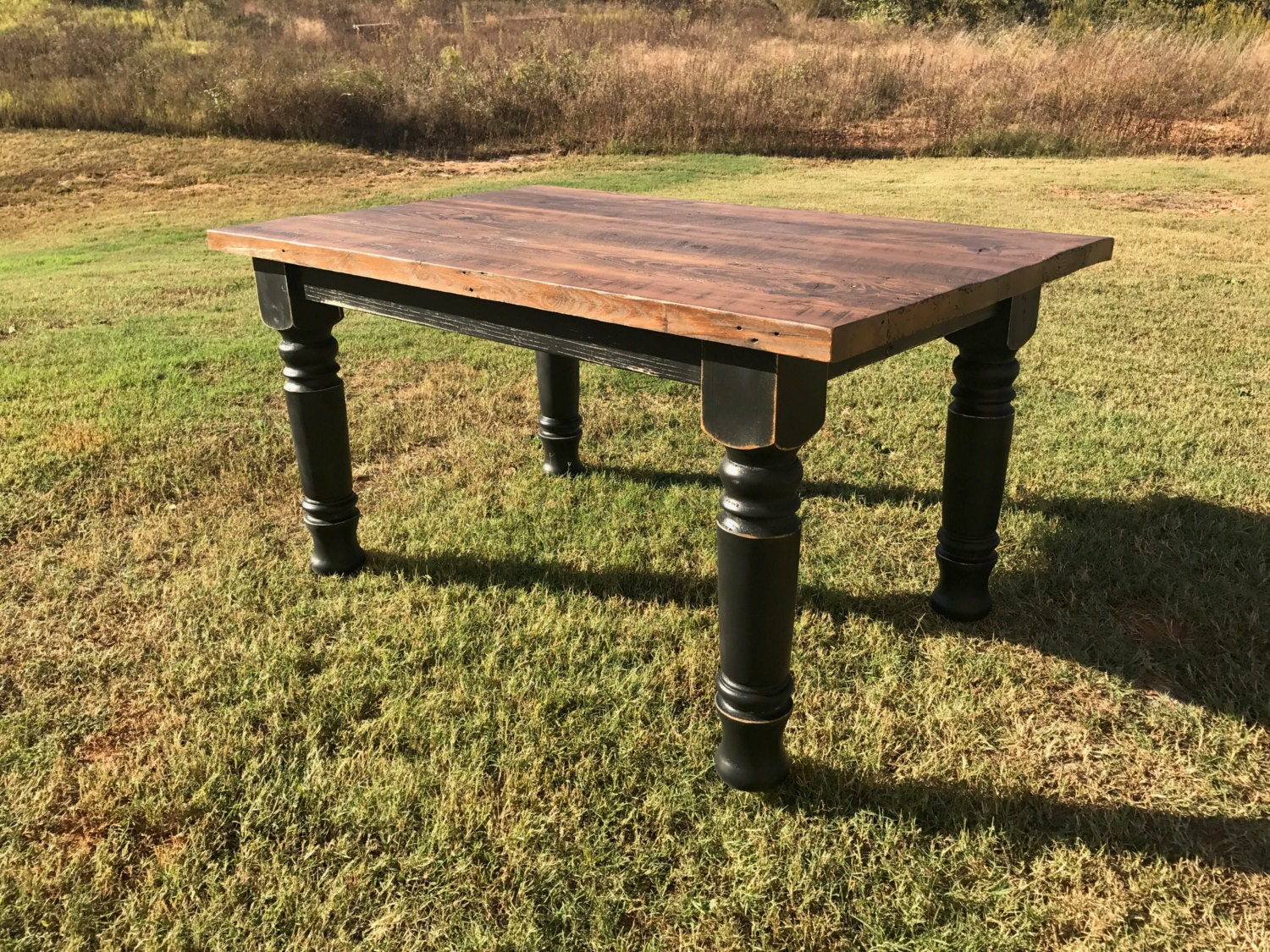 farmhouse table dining table solid wood table harvest. Black Bedroom Furniture Sets. Home Design Ideas